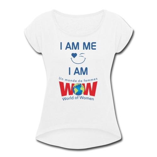 I AM ME-I AM WOW - White   %100 cotton - Women's Roll Cuff T-Shirt