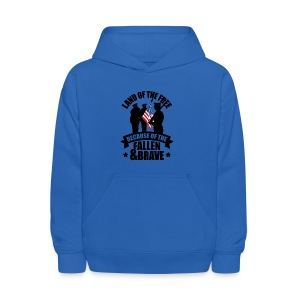 Land of Free Because of Fallen & Brave - Kids' Hoodie