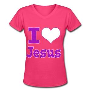 I Heart Jesus - Purple - Women's V-Neck T-Shirt