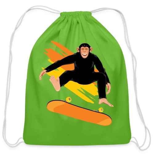 Monkey on the skateboard - Cotton Drawstring Bag