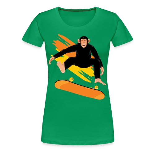 Monkey on the skateboard - Women's Premium T-Shirt