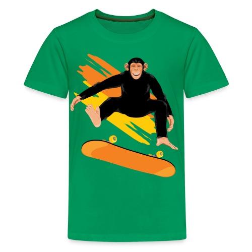 Monkey on the skateboard - Kids' Premium T-Shirt