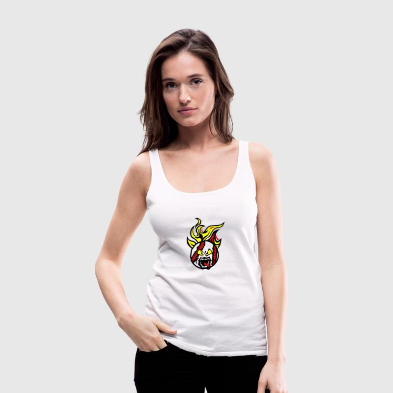 baseball cartoon face fire flame languag Tanks - Women's Premium Tank Top