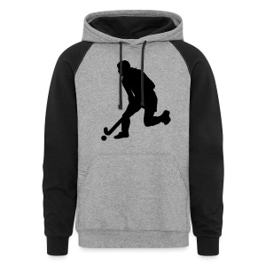 Women's Field Hockey Player in Silhouette - Colorblock Hoodie