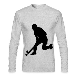 Women's Field Hockey Player in Silhouette - Men's Long Sleeve T-Shirt by Next Level