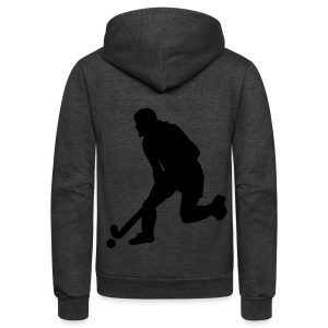 Women's Field Hockey Player in Silhouette - Unisex Fleece Zip Hoodie by American Apparel