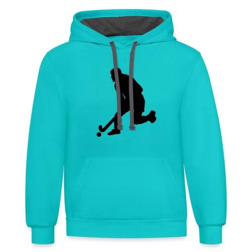 Women's Field Hockey Player in Silhouette - Contrast Hoodie