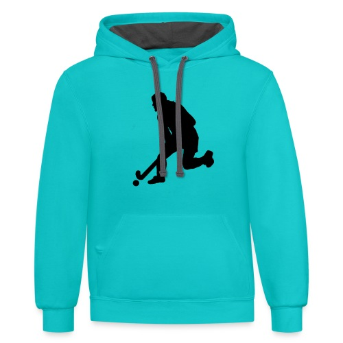 Women's Field Hockey Player in Silhouette - Contrast Hoodie