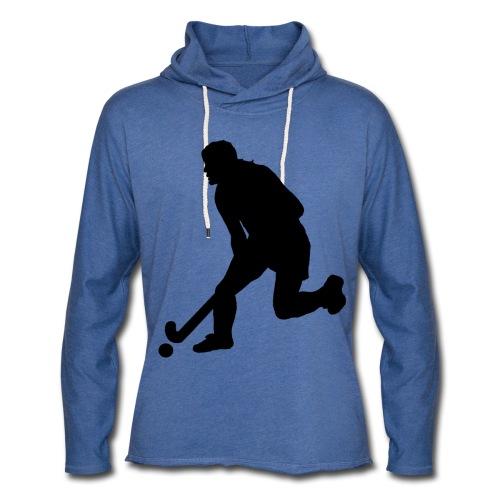 Women's Field Hockey Player in Silhouette - Unisex Lightweight Terry Hoodie