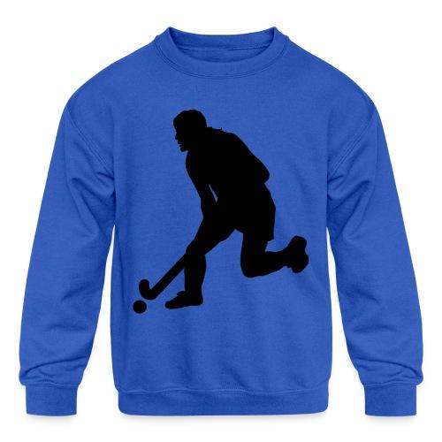 Women's Field Hockey Player in Silhouette - Kids' Crewneck Sweatshirt