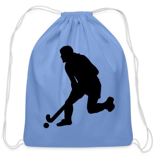 Women's Field Hockey Player in Silhouette - Cotton Drawstring Bag