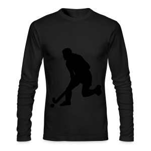 Women's Field Hockey Player in Silhouette - Men's Long Sleeve T-Shirt by Next Level