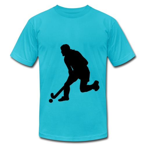 Women's Field Hockey Player in Silhouette - Men's Fine Jersey T-Shirt