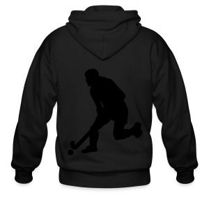 Women's Field Hockey Player in Silhouette - Men's Zip Hoodie