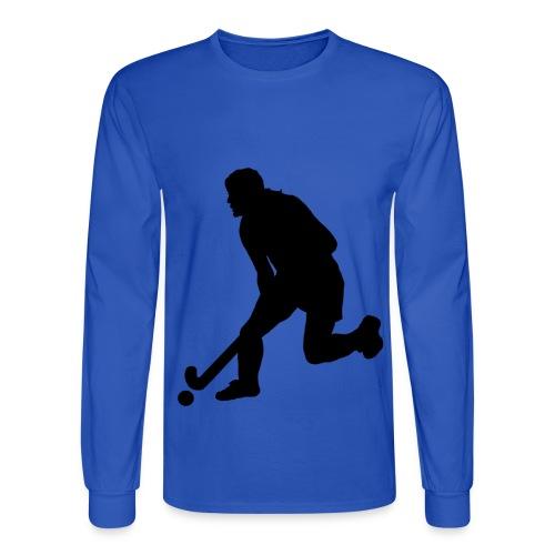 Women's Field Hockey Player in Silhouette - Men's Long Sleeve T-Shirt