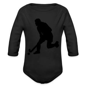 Women's Field Hockey Player in Silhouette - Long Sleeve Baby Bodysuit