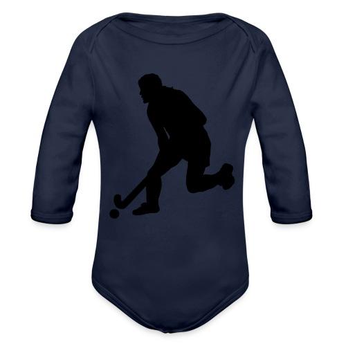 Women's Field Hockey Player in Silhouette - Organic Long Sleeve Baby Bodysuit