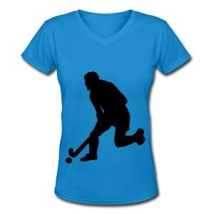 Women's Field Hockey Player in Silhouette - Women's V-Neck T-Shirt