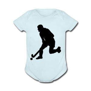 Women's Field Hockey Player in Silhouette - Short Sleeve Baby Bodysuit
