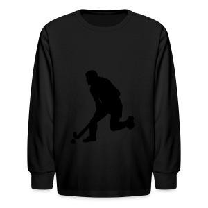 Women's Field Hockey Player in Silhouette - Kids' Long Sleeve T-Shirt