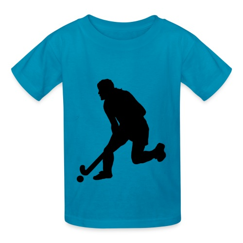 Women's Field Hockey Player in Silhouette - Kids' T-Shirt