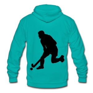 Women's Field Hockey Player in Silhouette - Unisex Fleece Zip Hoodie