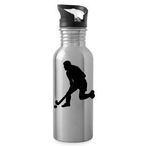 Women's Field Hockey Player in Silhouette - Water Bottle