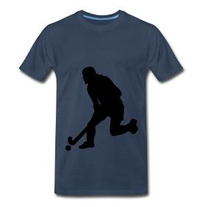 Women's Field Hockey Player in Silhouette - Men's Premium T-Shirt