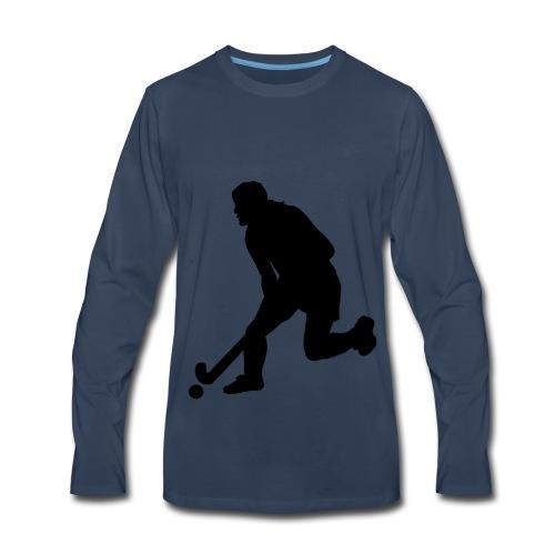Women's Field Hockey Player in Silhouette - Men's Premium Long Sleeve T-Shirt