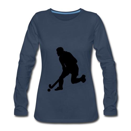 Women's Field Hockey Player in Silhouette - Women's Premium Long Sleeve T-Shirt