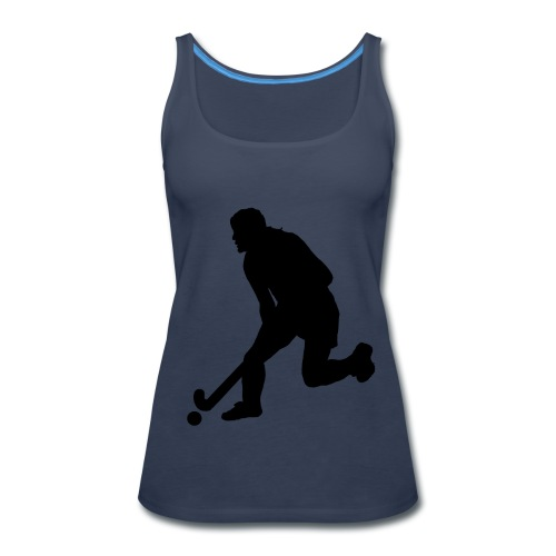 Women's Field Hockey Player in Silhouette - Women's Premium Tank Top