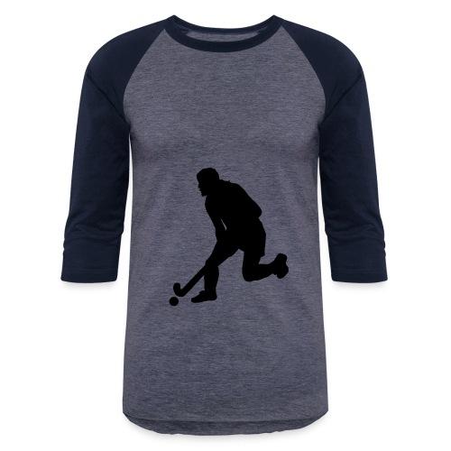Women's Field Hockey Player in Silhouette - Baseball T-Shirt