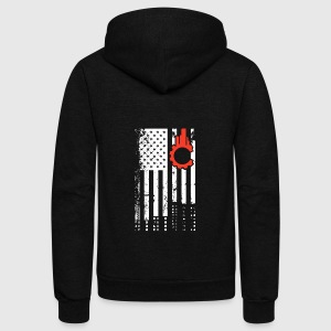 Civil Engineer Flag Shirt - Unisex Fleece Zip Hoodie by American Apparel