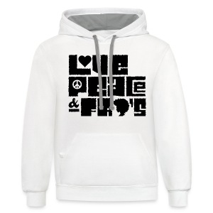 Love, Peace, &Fro's Ringer T-shirt - Contrast Hoodie