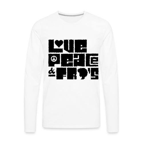 Love, Peace, &Fro's Ringer T-shirt - Men's Premium Long Sleeve T-Shirt