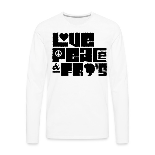 Love, Peace, &Fro's Ringer T-shirt - Men's Premium Long Sleeve T-Shirt