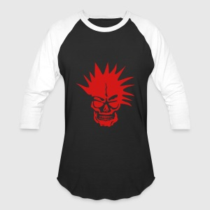 skull dead head punk hairstyle Long Sleeve Shirts - Baseball T-Shirt