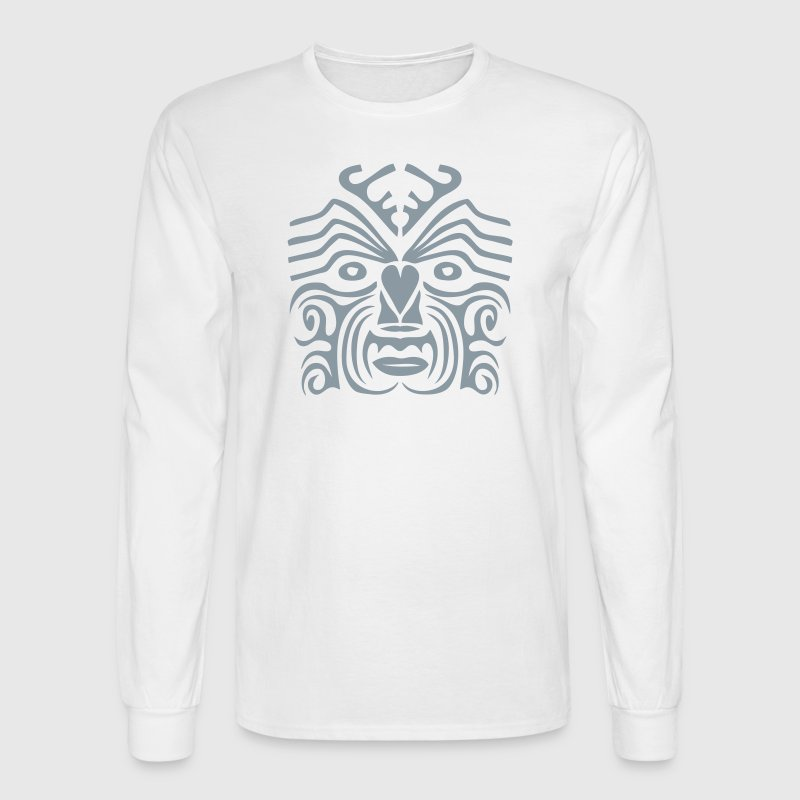 maori tribal tattoo mask 9 ethnic mask Long Sleeve Shirts - Men's Long Sleeve T-Shirt
