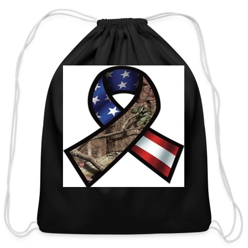 Mossy Oak Break-Up Camo Support Our Troops Ribbon Decal - Cotton Drawstring Bag