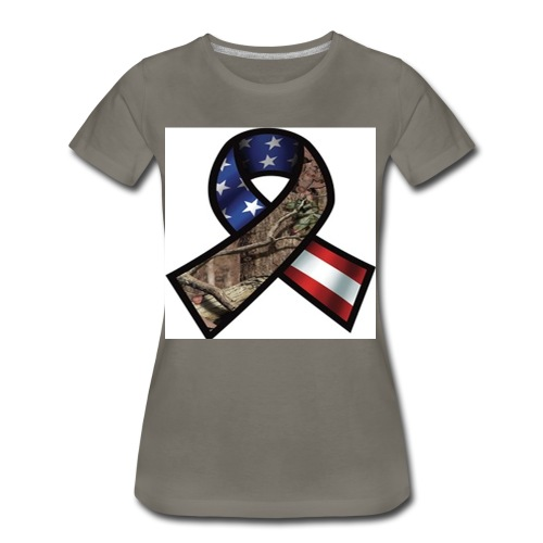 Mossy Oak Break-Up Camo Support Our Troops Ribbon Decal - Women's Premium T-Shirt