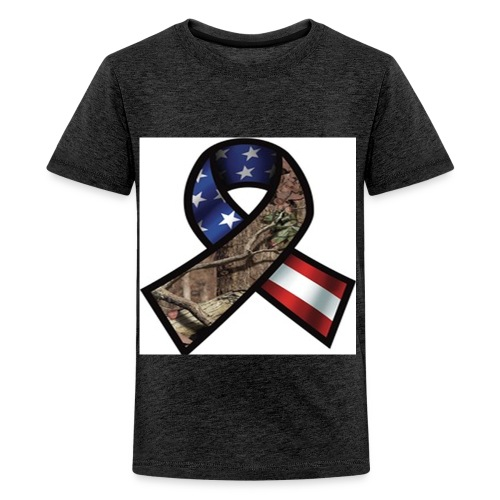 Mossy Oak Break-Up Camo Support Our Troops Ribbon Decal - Kids' Premium T-Shirt