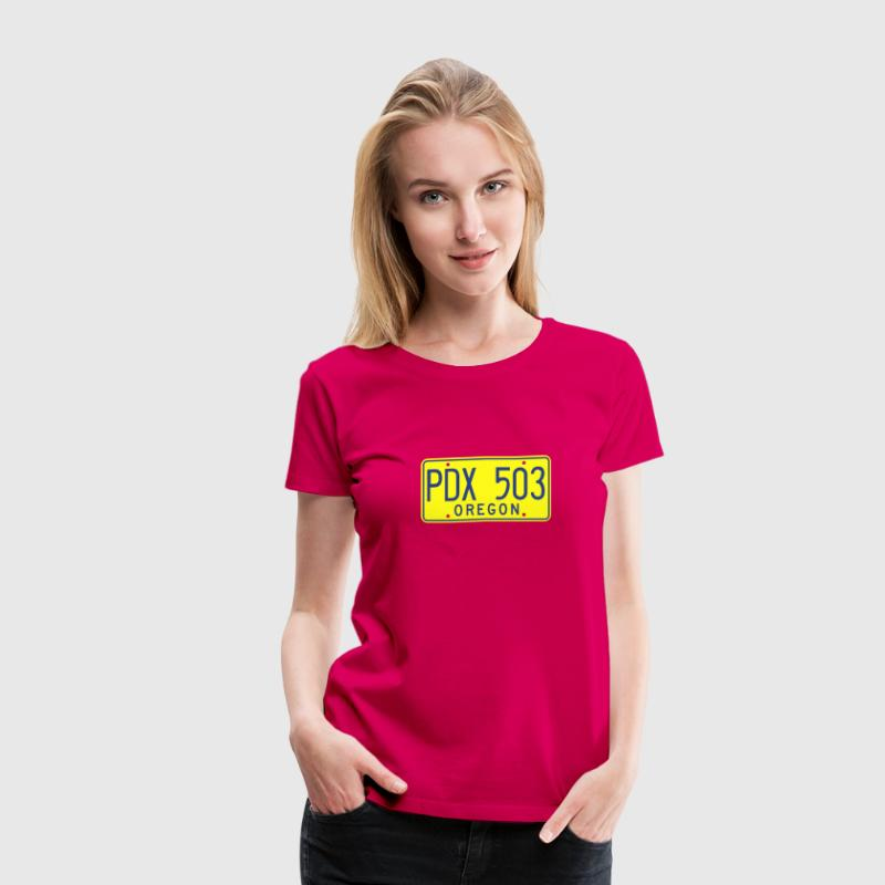 Retro Portland Oregon License Plate Women's T-Shir - Women's Premium T-Shirt