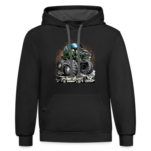 Tacoma Monster Truck Green - Contrast Hoodie