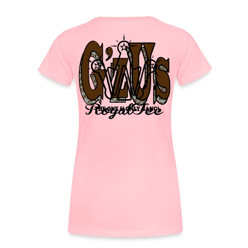 G'zUs/womens/wht blk gry on pink - Women's Premium T-Shirt