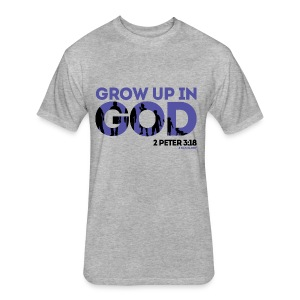 4 H.I.S.Glory Grow Up In God Men's T-Shirt (Purple) - Fitted Cotton/Poly T-Shirt by Next Level