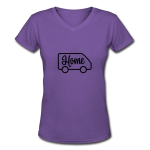 Home in a van - Women's V-Neck T-Shirt