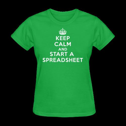 Keep calm and start a spreadsheet white - Women's T-Shirt