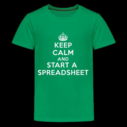 Keep calm and start a spreadsheet white - Kids' Premium T-Shirt