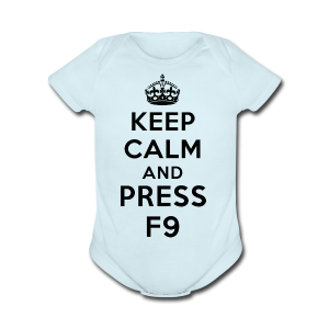 Keep calm and press F9 black - Short Sleeve Baby Bodysuit