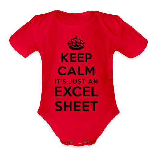 Keep calm it's just an Excel sheet black - Organic Short Sleeve Baby Bodysuit